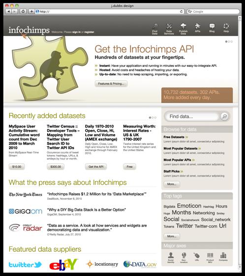 Infochimps: Data-driven user interface design | j dubbs design